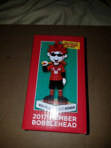REDS HEADS Cincinnati Reds 2017 Kids Club Mascot Bobble Head Limited Edition New