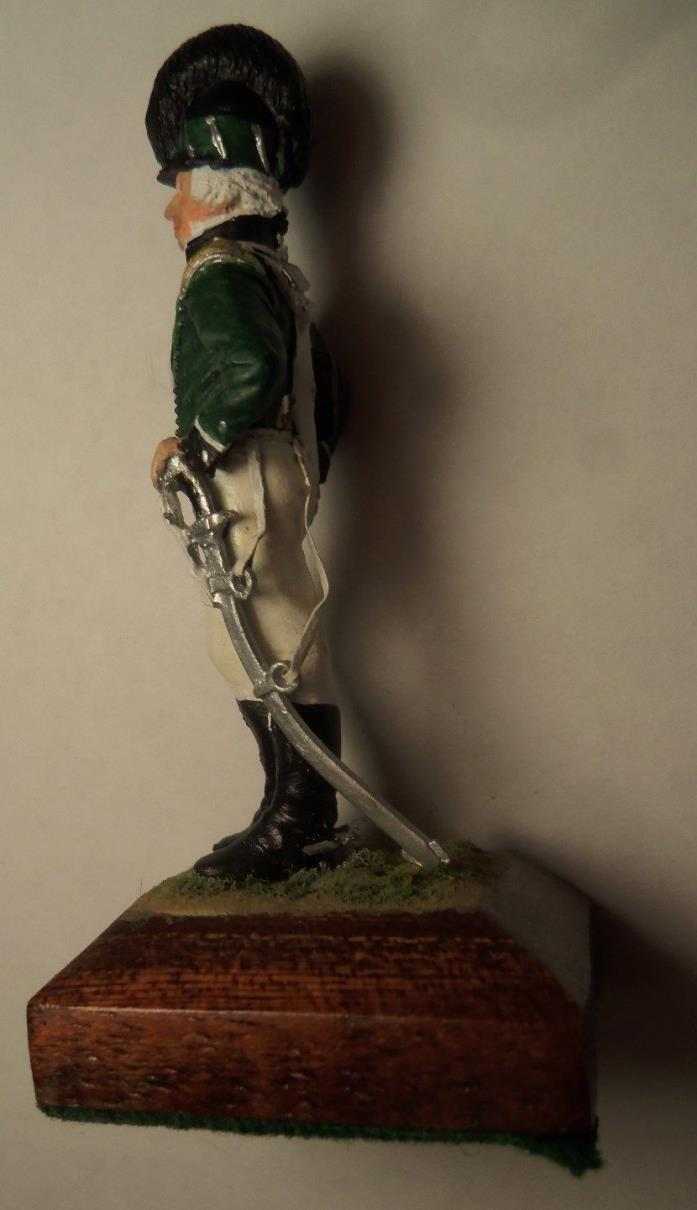 VINTAGE CAST IRON TOY SOLDIER OFFICER ON STAND PAINT VERY NICE 3