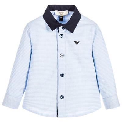 Armani Baby Boys Blue Contrast Collar Shirt