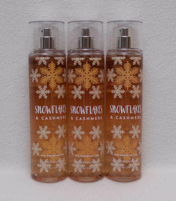 Bath & Body Works Snowflakes & Cashmere Fragrance Mist Set of 3 Bottles 8 fl oz