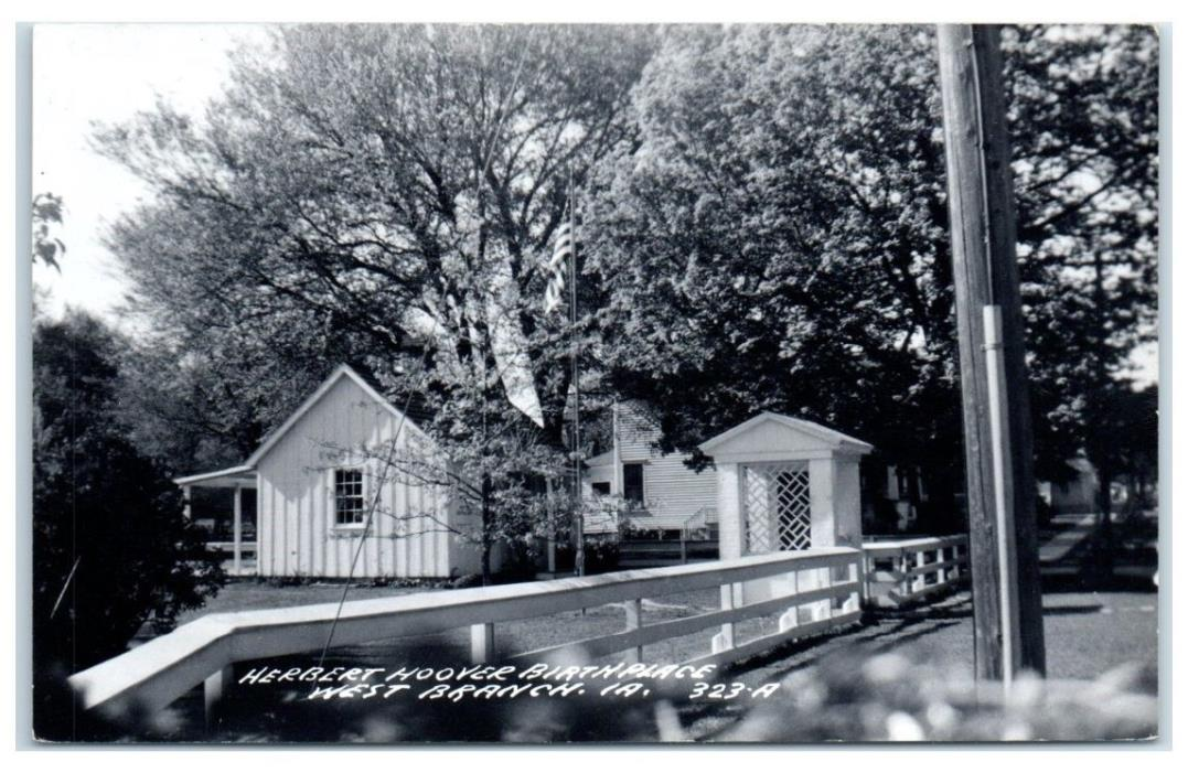 1955 Herbert Hoover's Birthplace, West Branch, IA RPPC Real Photo Postcard