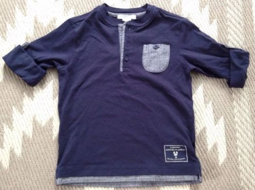 Janie and Jack Boy's Navy Pocket Lobster Shirt Sz 3
