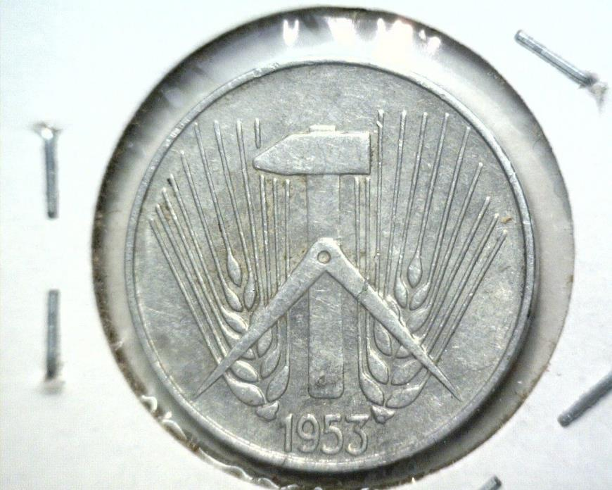 1953 E East Germany 5 Pfennig coin KM#6 Muldenhuten Mint GDR