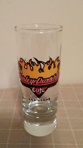 Harley Davidson Cafe Las Vegas Tall Shot Glass Flames Barware