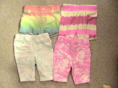 Girl's Tie Dye Shorts & Capri Pants Clothing Lot-Size 12-18 24 Months