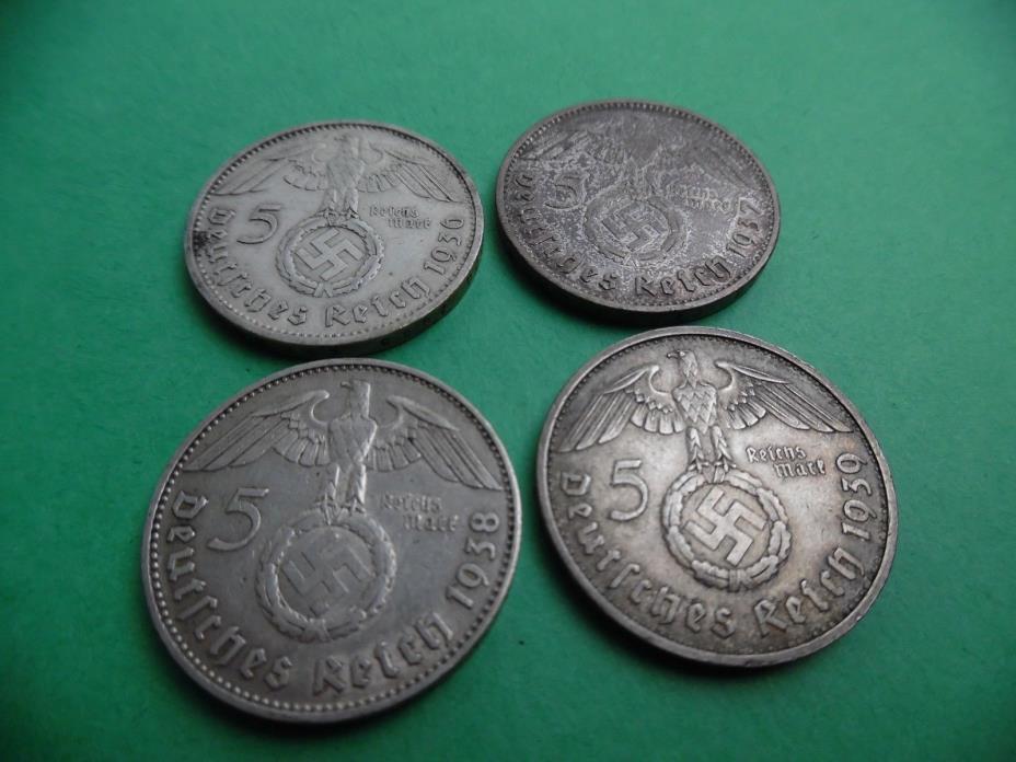 GERMANY THIRD REICH 5 REICHSMARK 1936A, 1937A, 1938J, 1939B SILVER KM94 VF-AU