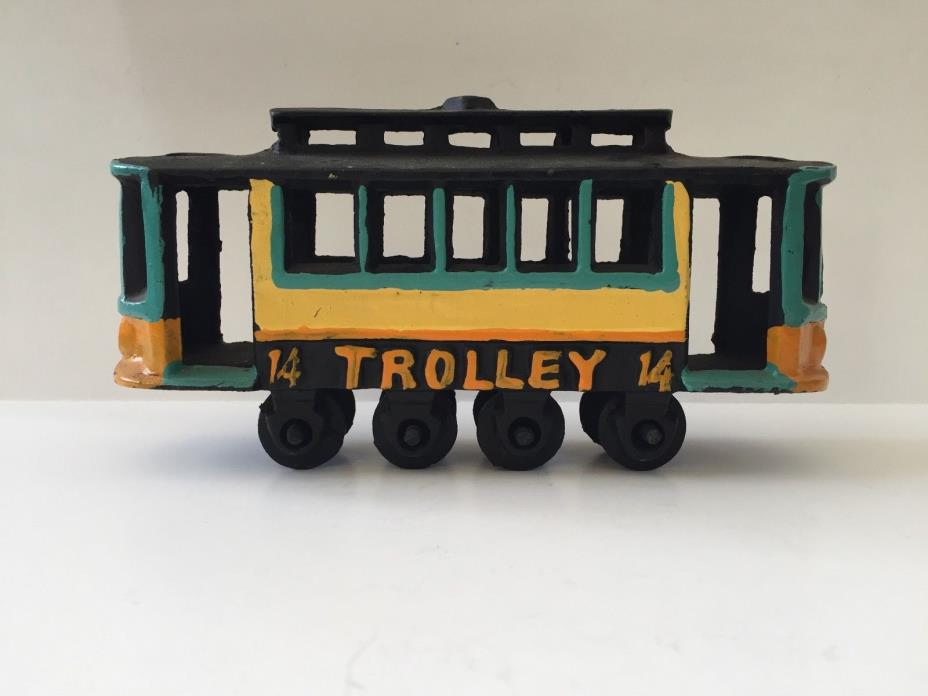 CAST IRON TROLLEY #14 WAGONS VINTAGE TOY