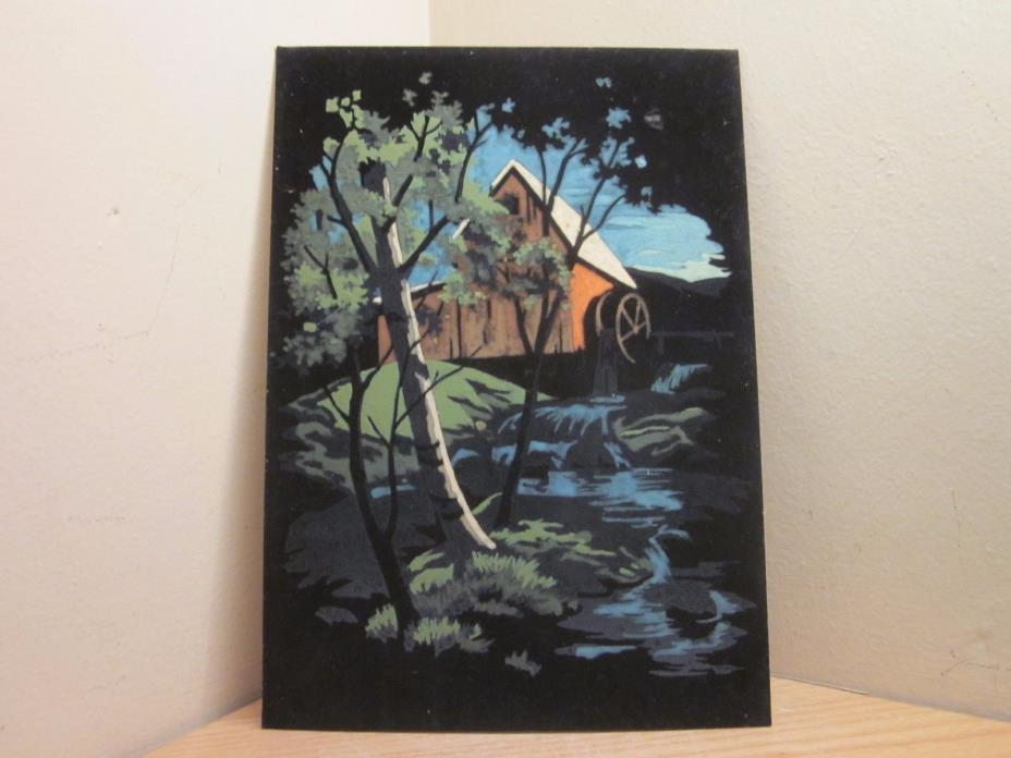VINTAGE VELVET PAINT BY NUMBER BARN PAINTING WATER WHEEL PBN L@@K *FREE SHIP*