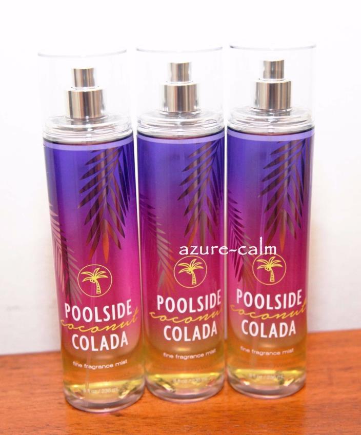 Bath Body Works POOLSIDE COCONUT COLADA Fragrance Mist Body Splash x 3