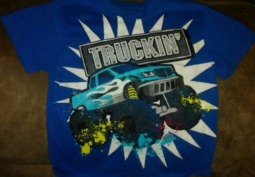 boys size 3t blue graphic truckin' t shirt