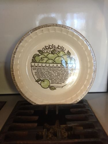 Vintage Royal China Jeannette Apple Pie Dish With Recipe