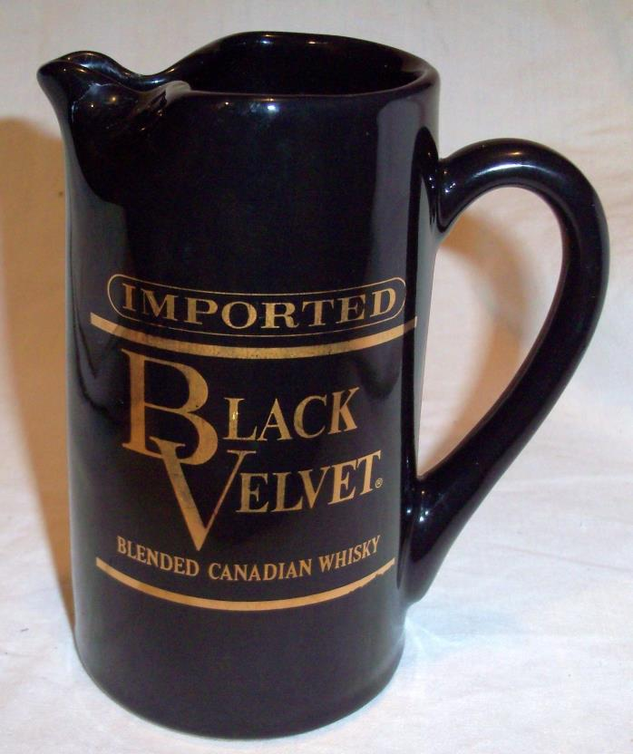 Black Velvet Imported Blended Candian Whiskey Pitcher 1974 Heublein Bar Liquor