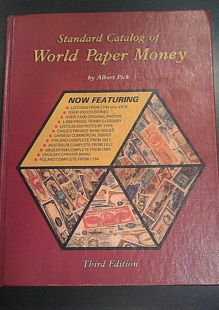 Standard Catalog Of World Paper Money 3rd Edition Albert Pick Numismatic Book