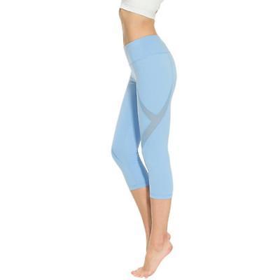 Women Sports Tights Capris Gym Slim Yoga Pants High Waist Stretch Workout Leggin