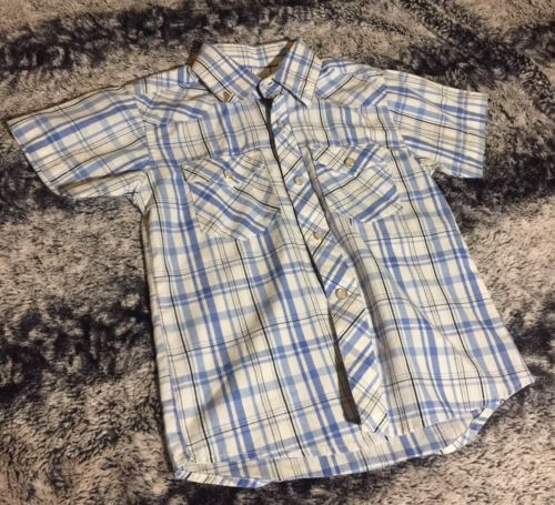 Gioberti Italy Kids Toddler Size 4 White And Blue Plaid Short Sleeve Button Up