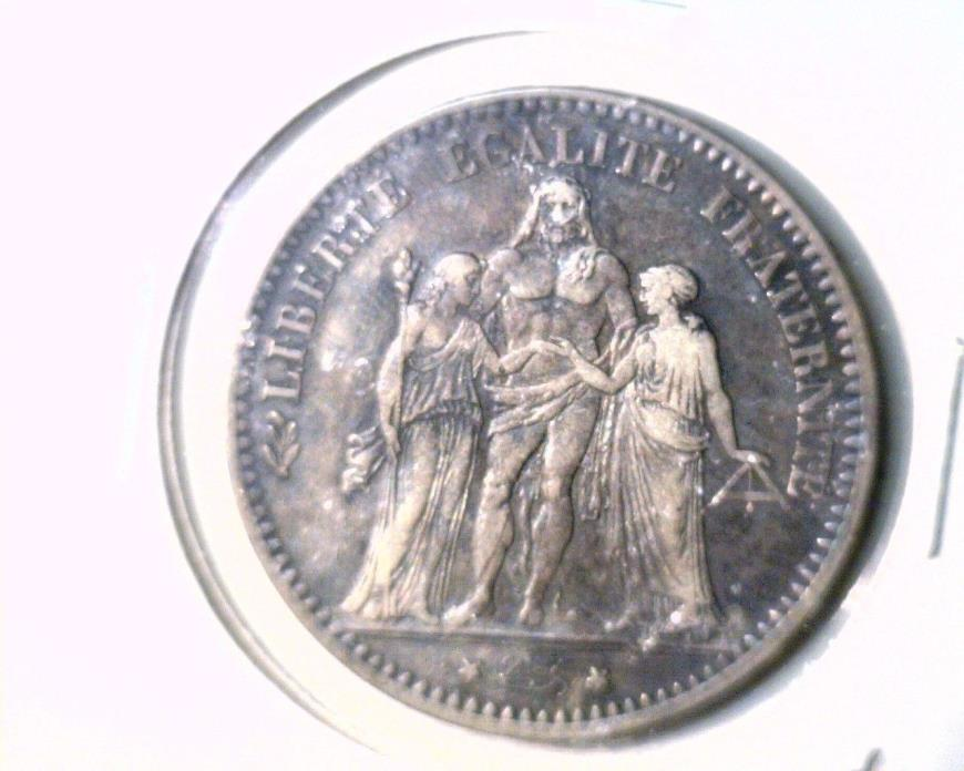 1875 K France Silver 5 Francs Coin KM#820.2    .7234 ASW