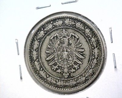 1887 A  Germany Empire 20 Pfennig Coin KM# 9.1