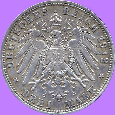1912 'D' Bavaria Germany 3 Mark Silver Coin (16.667 grams .900 Silver)