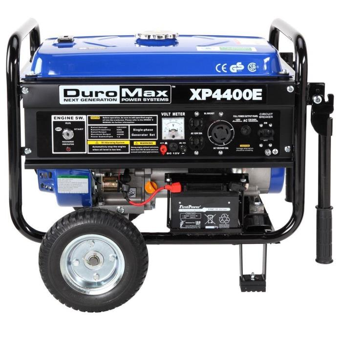 DuroMax 4400 Watt 7HP Gas Powered Generator with Wheel Kit And Electric Start