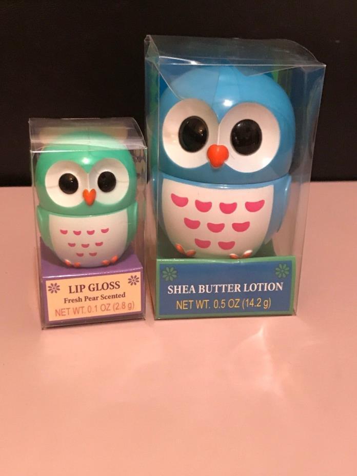 Owl Fresh Pear Lip Gloss Balm & Owl Shea Butter Lotion Set Brand New Valentines
