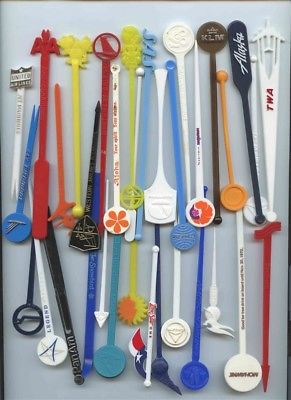60+ Different Airline Swizzle Sticks 40 Airlines Mohawk Concorde Legend TWA JAL