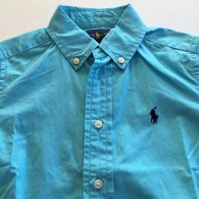 NWT TODDLER BOYS RALPH LAUREN BLUE SS SHIRT Sz 4/4T