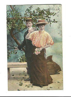 1908 Postcard Man Woman Straw Hats Couple Courting