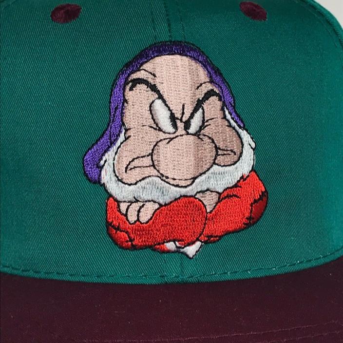 VINTAGE Grumpy Hat Snapback Cap Green Disney Snow White 7 Dwarfs Youth Womens