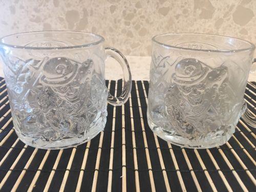 Set Of 2 Vintage Batman Forever Glass Mugs - The Riddler - 1995 McDonalds