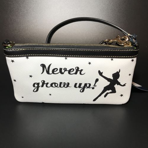 NWT Dooney And Bourke Peter Pan Never Grow Up Wristlet Disney Tinkerbell Black