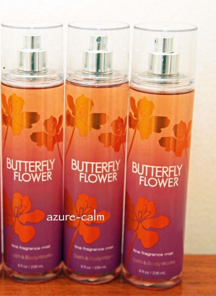 Bath & Body Works BUTTERFLY FLOWER 8ozs Body Fragrance Mist Splash x 3