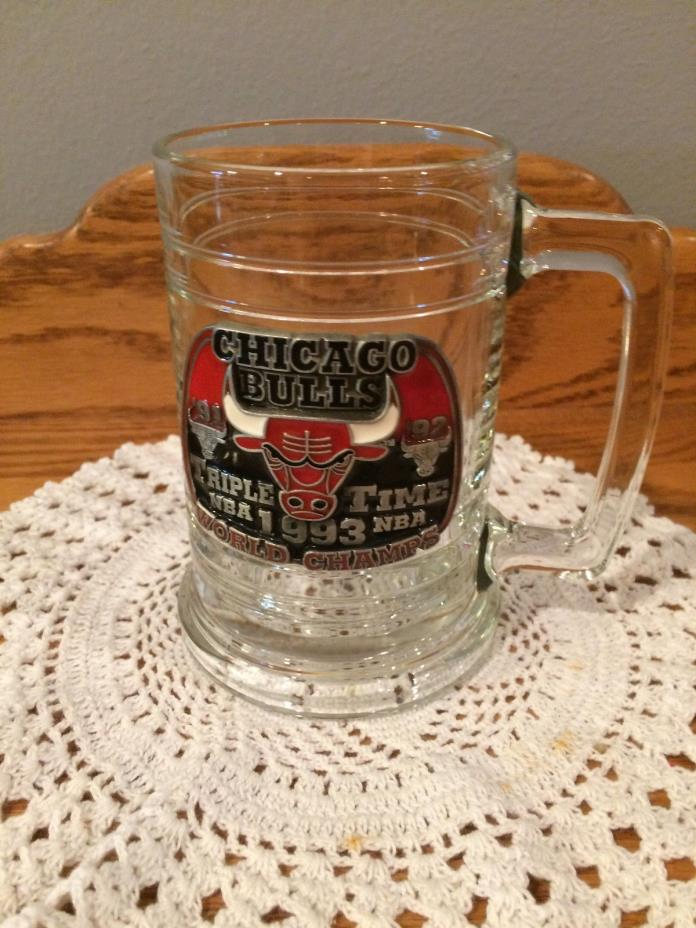 Chicago Bulls Triple Time 1991 1992 1993 World Champs Glass Beer Stein