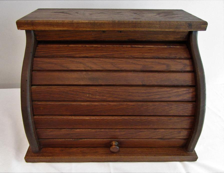 Vintage Wood Roll Top Bread Storage Box Nostalgic Kitchen Decor Rustic Farm