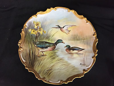 ANTIQUE LIMOGES FRANCE PORCELAIN GAME DUCK PLATE/CHARGER HANDPAINTED
