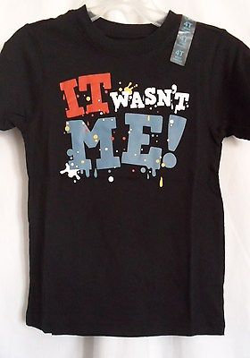 BOYS 12-18 MONTHS BLACK IT WASN'T ME! SPLATTERED SHIRT NWT THE CHILDREN'S PLACE