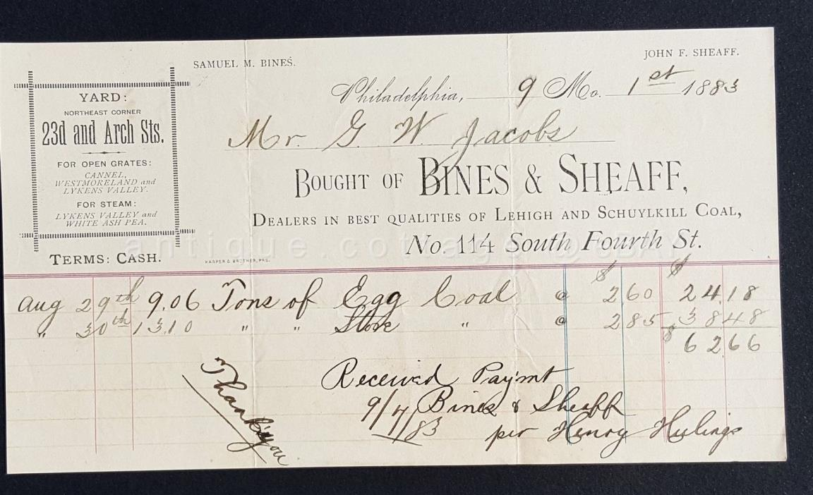 1883 antique RECEIPT philadelphia pa BINES &SHEAFF jacobs LEHIGH SCHUYLKILL COAL
