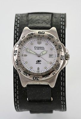 Fossil Watch Mens Steel Stainless Silver Black Wide Leather 50m White Quartz