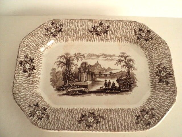 Antique c1850 CORINTH Pattern Edwards Brown & White Decorative Scenic platter
