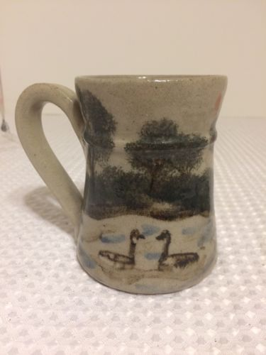 Winter Creek Pottery signed mug Hand Painted Ducks 4 1/8""