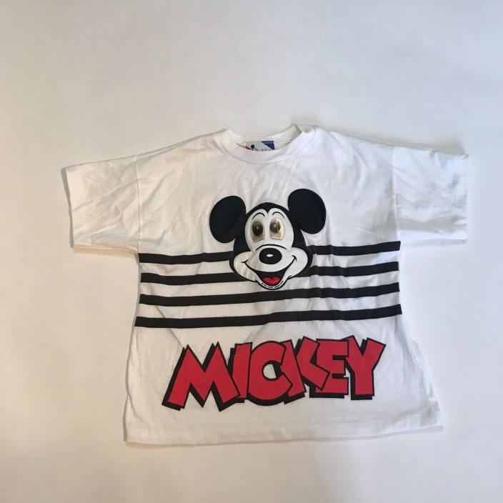 Vintage 80s Disney Mickey Mouse Moving Eyes Short Sleeve Youth Large Shirt