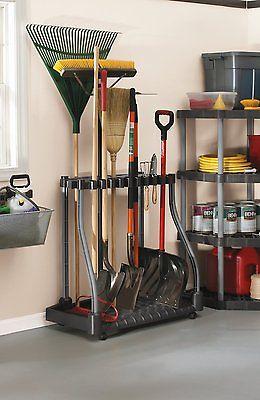 Garden Tool Storage Rack Shed Tower Yard Garage Organizer Mop Broom Holder Wheel