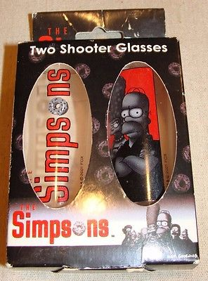 The Simpsons Two Shooter Glasses Shot Glasses 2001 20th Century Fox Barware