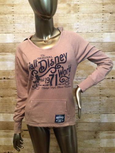 WALT DISNEY WORLD Parks 71 Unisex Beige Tan Pullover Hoodie Mickey Mouse Size XS