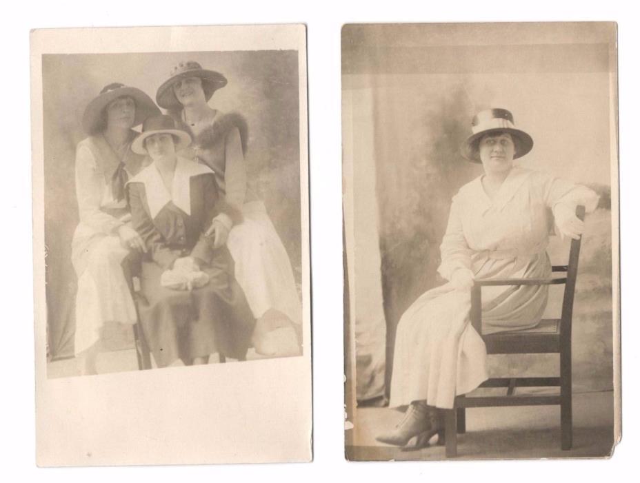 FASHION POSTCARD LOT OF 2    LADIES WITH HATS  UTICA NY   RPPC PHOTO