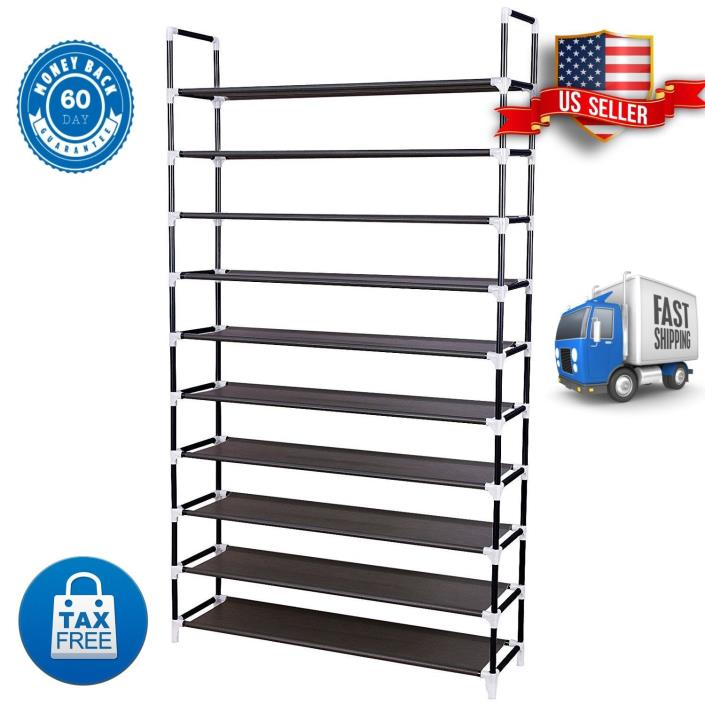 Exclusive 10 Tier Shoe Rack For 50 Pair Metal Organizer Cabinet Black For Home
