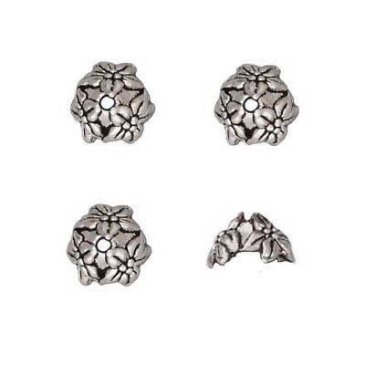 Antiqued Silver Plated Pewter Jasmine Bead Caps 7mm (4)