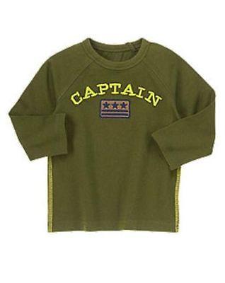 NWT Gymboree Flight School Captain Patch Green Top Shirt 18 24