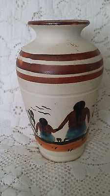 Vintage Mexico Hand Decorated Folk Art Pottery Vase 6