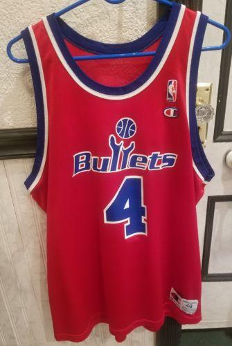 RARE VTG 90s NBA Champion Washington Bullets Chris Webber 4 Jersey 48 Wizards 5