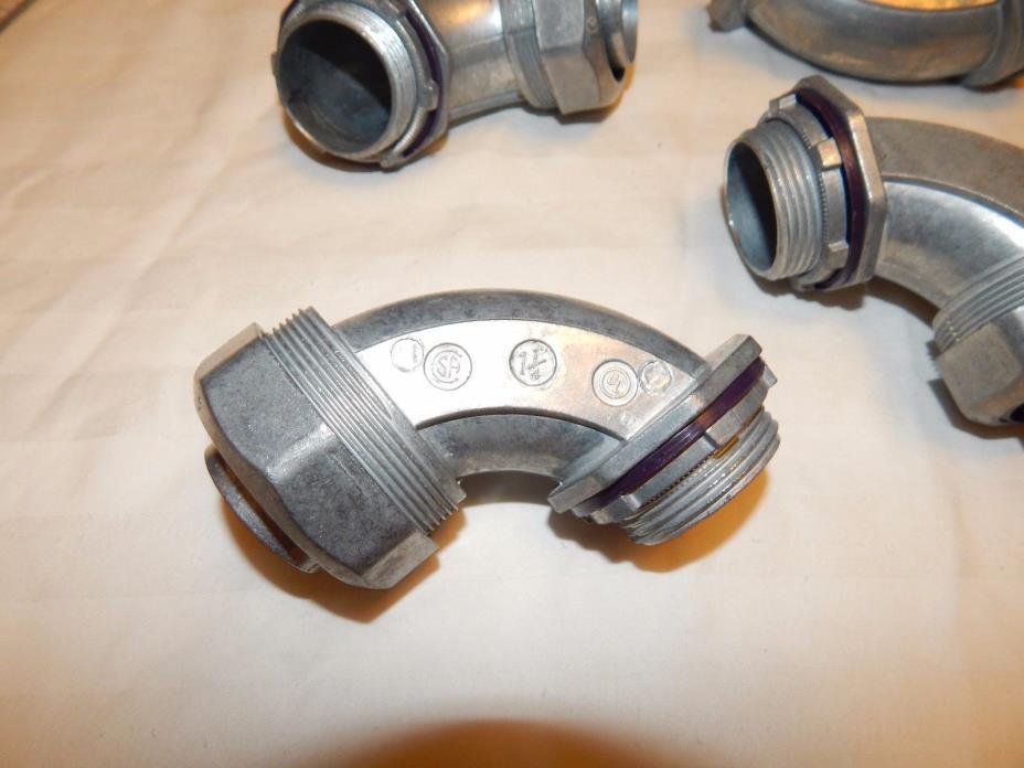 Lot of 5 ~ 1.25 inch 90 Degree Liquid Tight Connectors Zinc NEW Madison LQA-9125